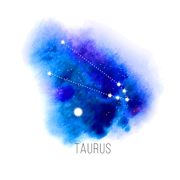 Astrology sign Taurus on blue watercolor background