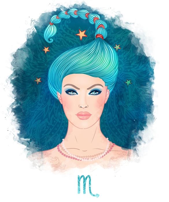 Illustration of Scorpio zodiac sign as a beautiful girl