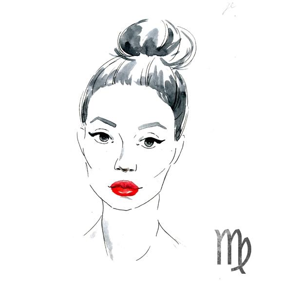 watercolor illustration of woman Virgo